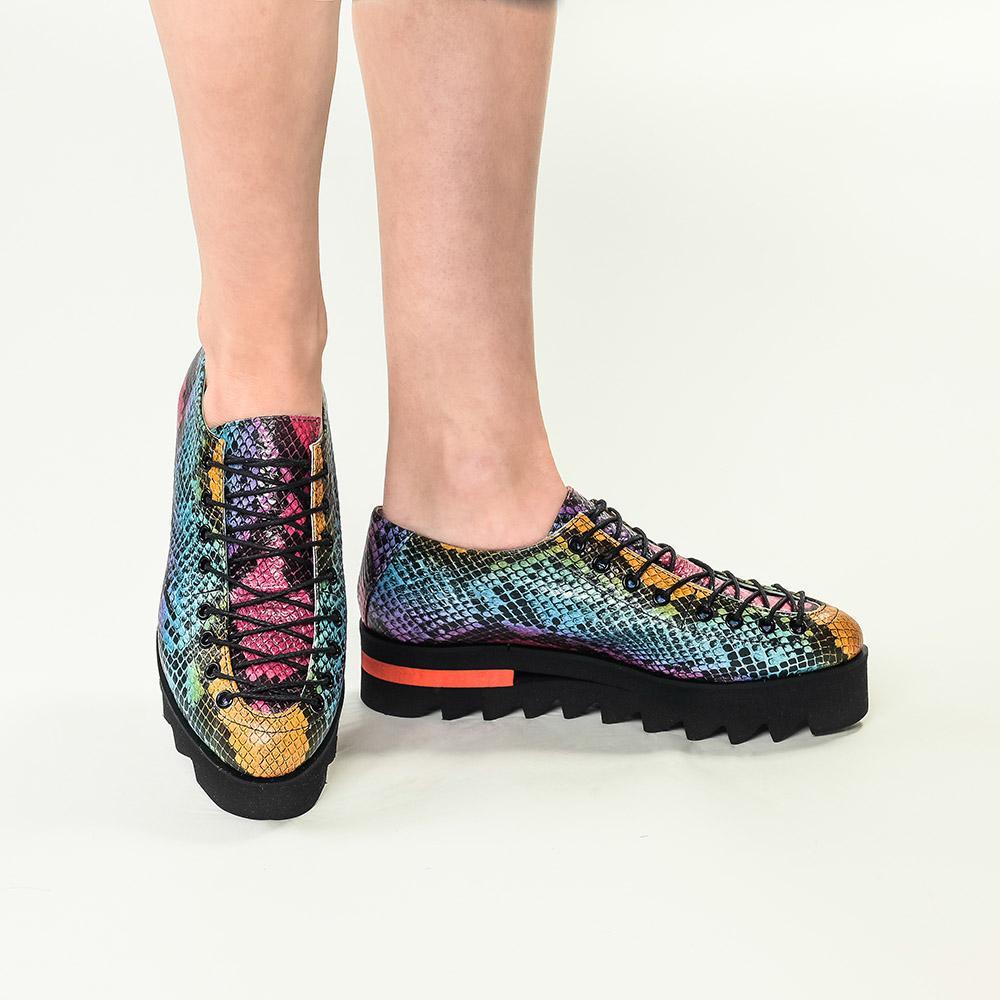 Pantofi din piele imprimeu sarpe color Evelyne