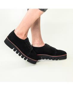 Pantofi din piele intoarsa neagra Eva