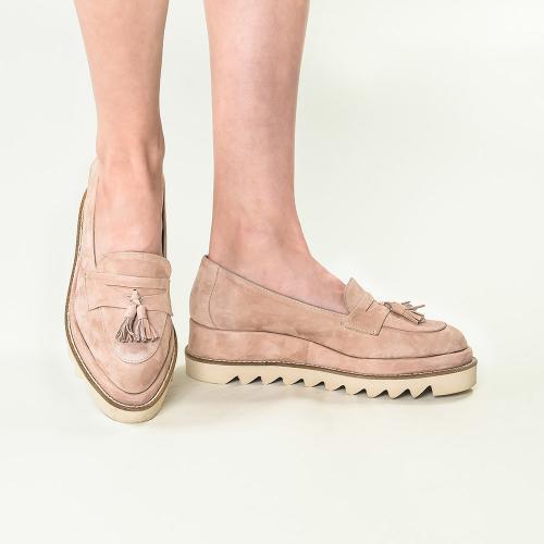 Pantofi din piele intoarsa nude Annes