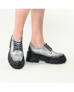 Pantofi din piele naturala alb-negru Iriss