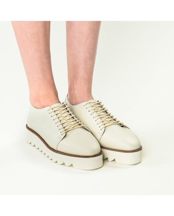 Pantofi din piele naturala bizonata ivoire Eva