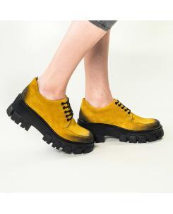 Pantofi din piele naturala galben inchis Iris