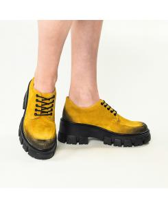 Pantofi din piele naturala galben inchis Iriss