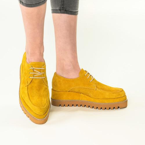 Pantofi din piele naturala galben inchis Venus