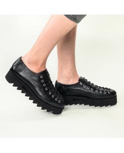 Pantofi din piele naturala neagra Evelyne