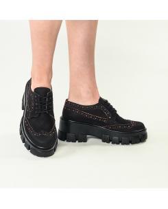 Pantofi din piele naturala neagra cu insertii rosii Morena