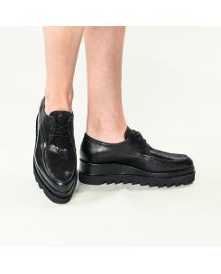 Pantofi din piele naturala neagra Venus
