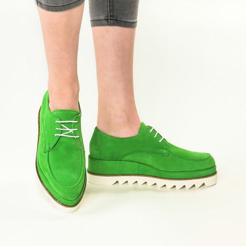Pantofi din piele naturala verde Venus