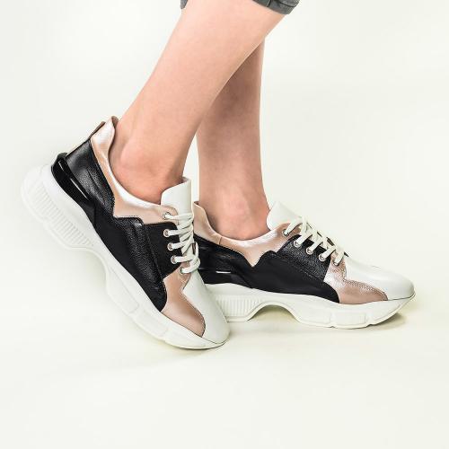 Pantofi sport din piele bizonata nude Agnes