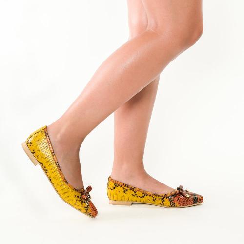 Balerini din piele naturala cu imprimeu piton galben Alice