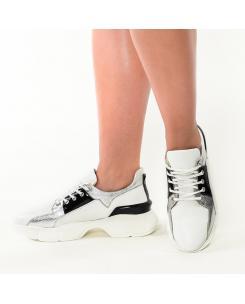 Pantofi sport din piele naturala alba Agnes