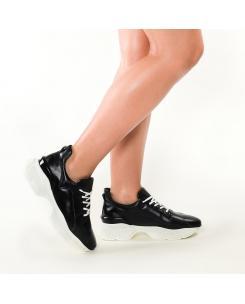 Pantofi sport din piele naturala neagra Agnes