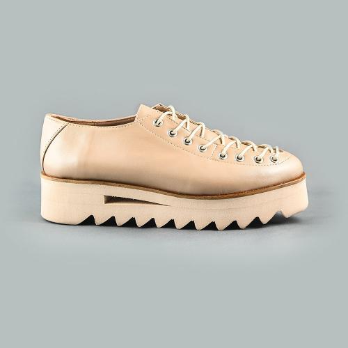 Pantofi din piele naturala bej-sidef Evelyne