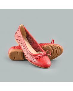 Balerini din piele naturala rosie Nadia