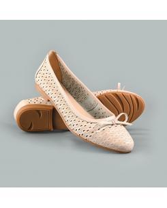 Balerini din piele naturala crem-roz Nadia