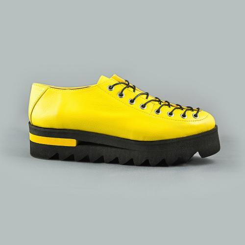 Pantofi din piele naturala galben Evelyne