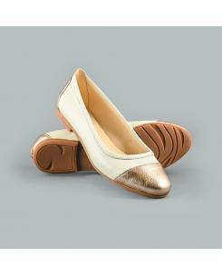Balerini din piele naturala ivoire cu auriu Rania