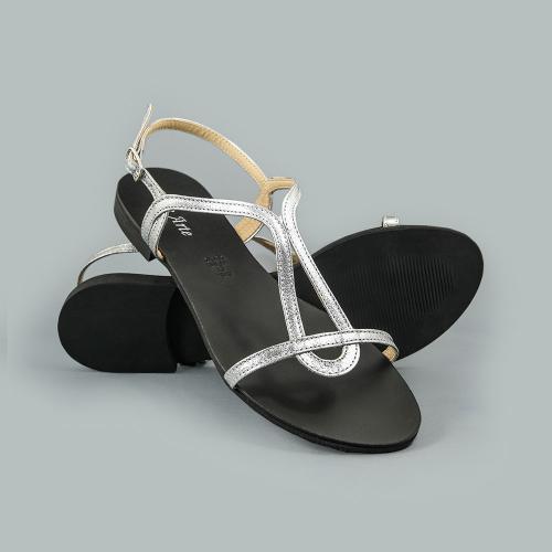 Sandale din piele naturala argintie Vera
