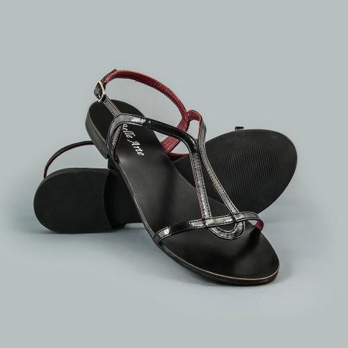 Sandale din piele naturala negru lac Vera