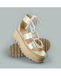 Sandale din piele naturala aurie Kendra