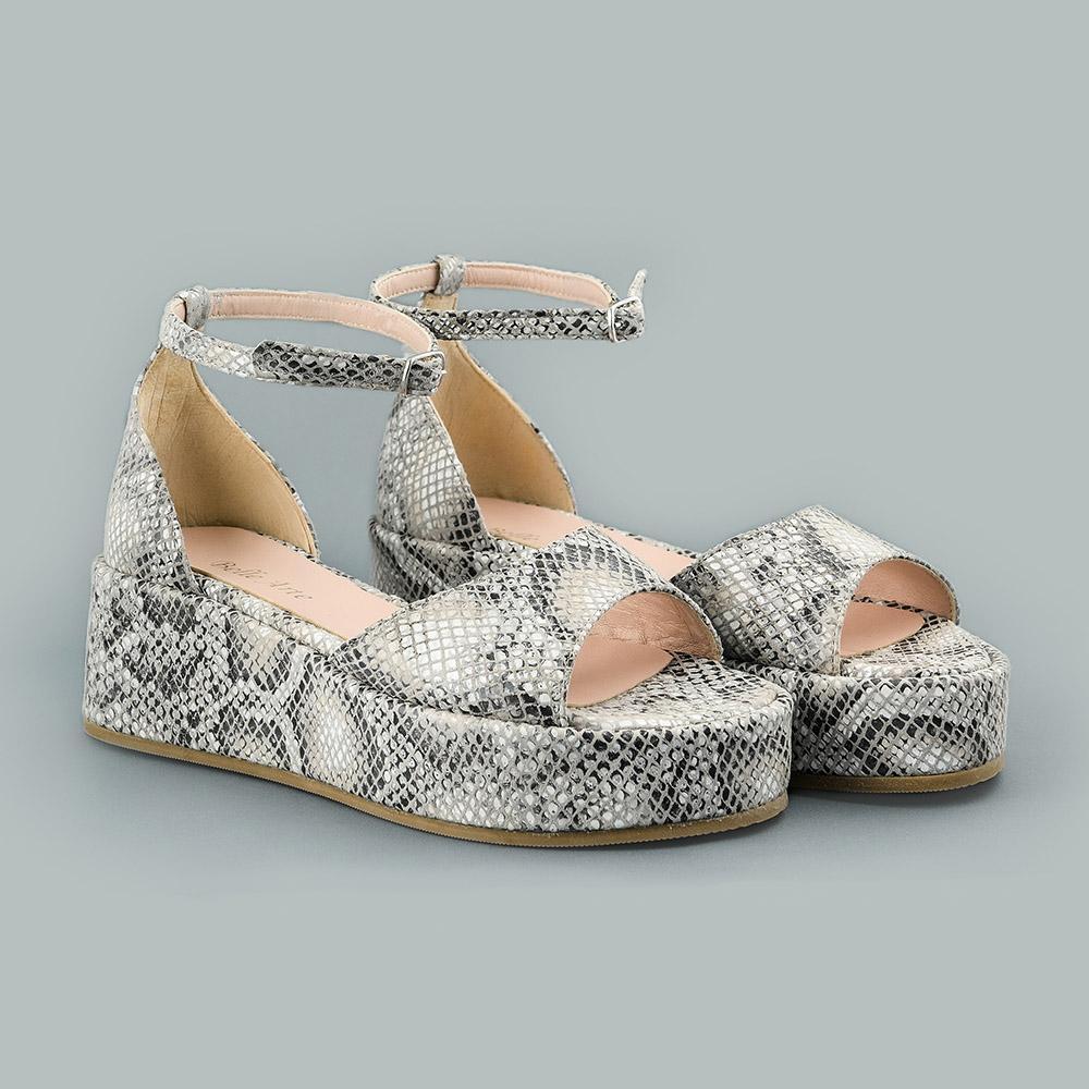 Sandale din piele naturala cu imprimeu sarpe gri Melissa