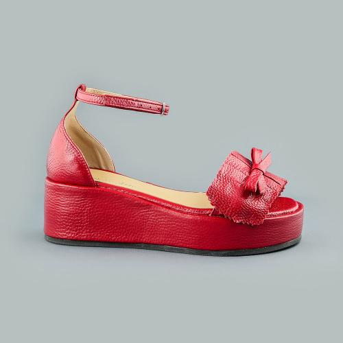 Sandale din piele naturala rosie Sonia