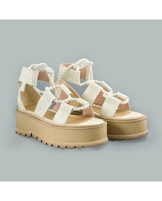 Sandale din piele naturala ivoire Kendra