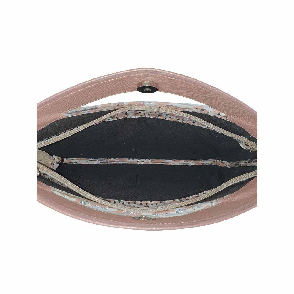 Geanta de mana din piele naturala de culoare nude cu imprimeu argintiu Sharon