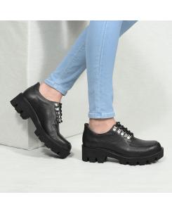 Pantofi din piele bizonata neagra July