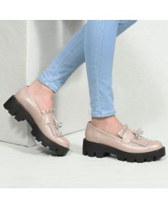Pantofi din piele naturala bej Tina