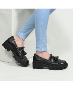 Pantofi din piele naturala neagra Tina
