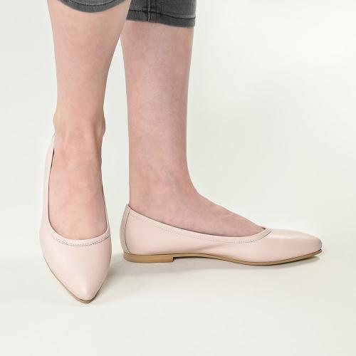 Balerini din piele naturala crem-roz Fiona