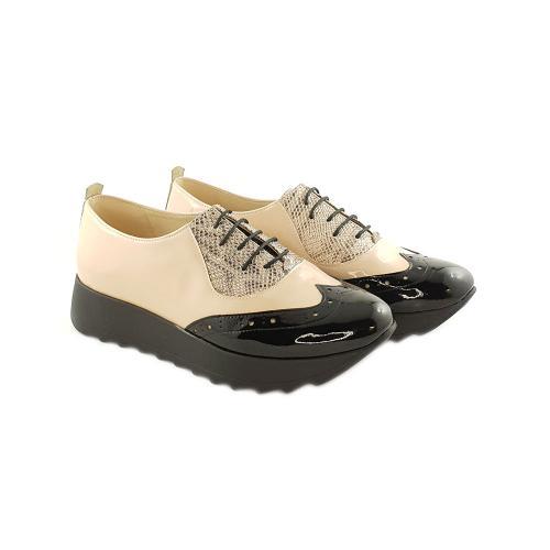 Pantofi Oxford din lac nude-negru Apollo