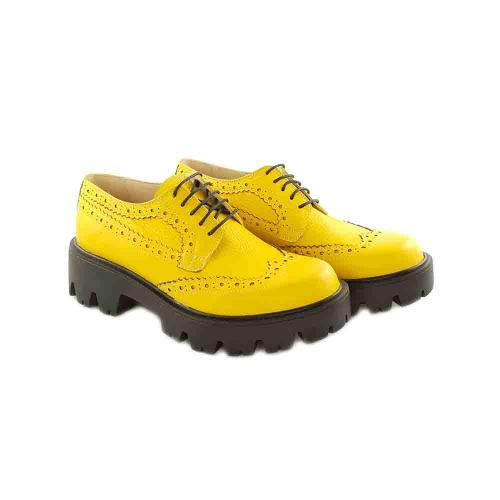 Pantofi Oxford din piele naturala galbena Jessica