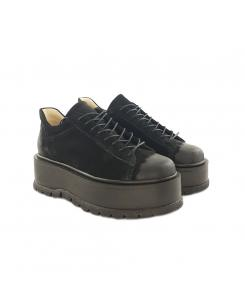 Sneakersi din piele intoarsa neagra Sarah