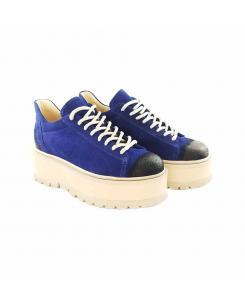 Sneakersi din piele intoarsa albastra Sarah