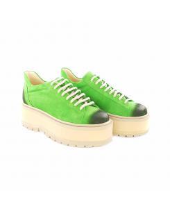 Sneakersi din piele intoarsa verde Sarah