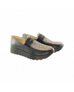Pantofi din piele naturala neagra cu imprimeu sarpe Anais