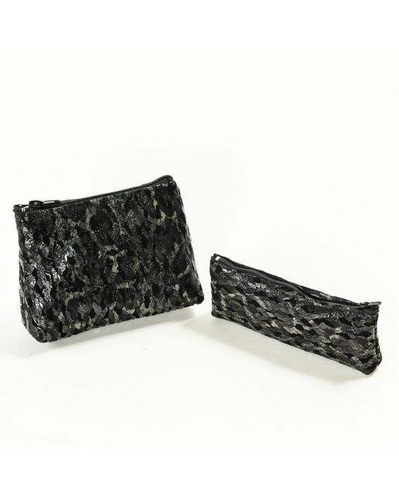 Geanta cu set din piele naturala cu imprimeu negru-argintiu Olimpia