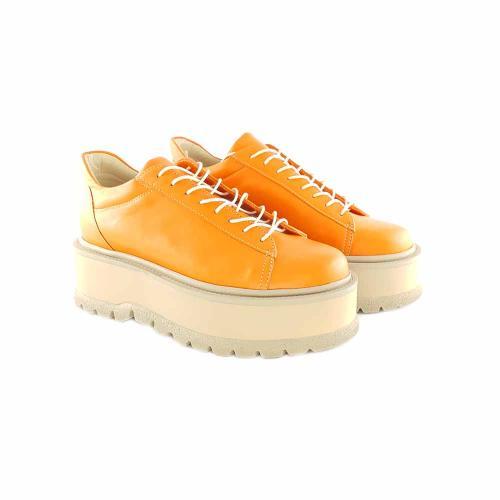 Sneakersi din piele naturala orange Sarah