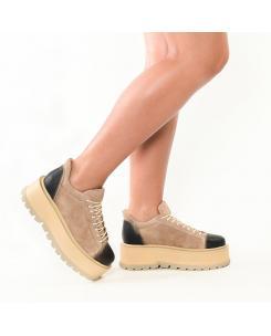 Sneakersi de culoare nude din piele intoarsa Sarah