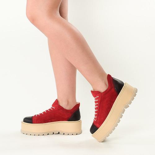 Sneakersi din piele intoarsa rosie Sarah