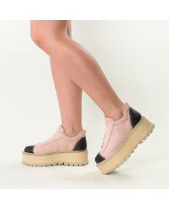 Sneakersi din piele intoarsa roz-nude Sarah