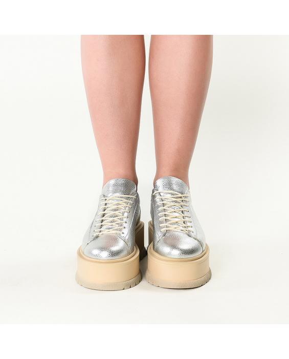 Sneakersi din piele naturala argintie Sarah