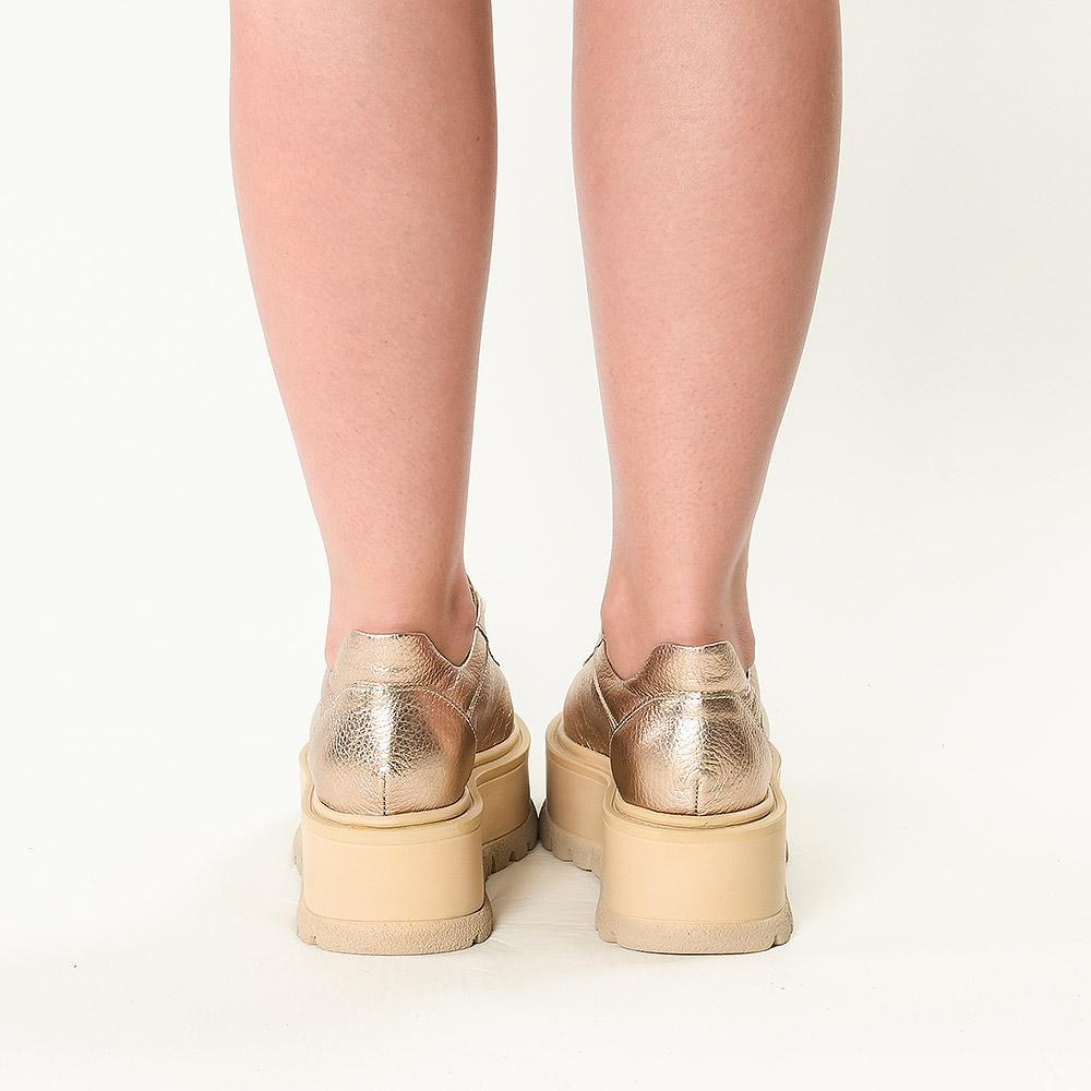 Sneakersi din piele naturala cupru Sarah