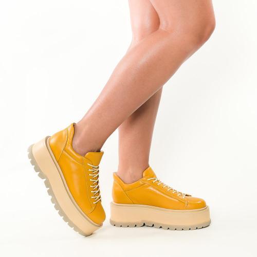 Sneakersi din piele naturala galben inchis Sarah