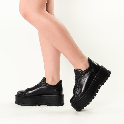 Sneakersi din piele naturala neagra Sarah