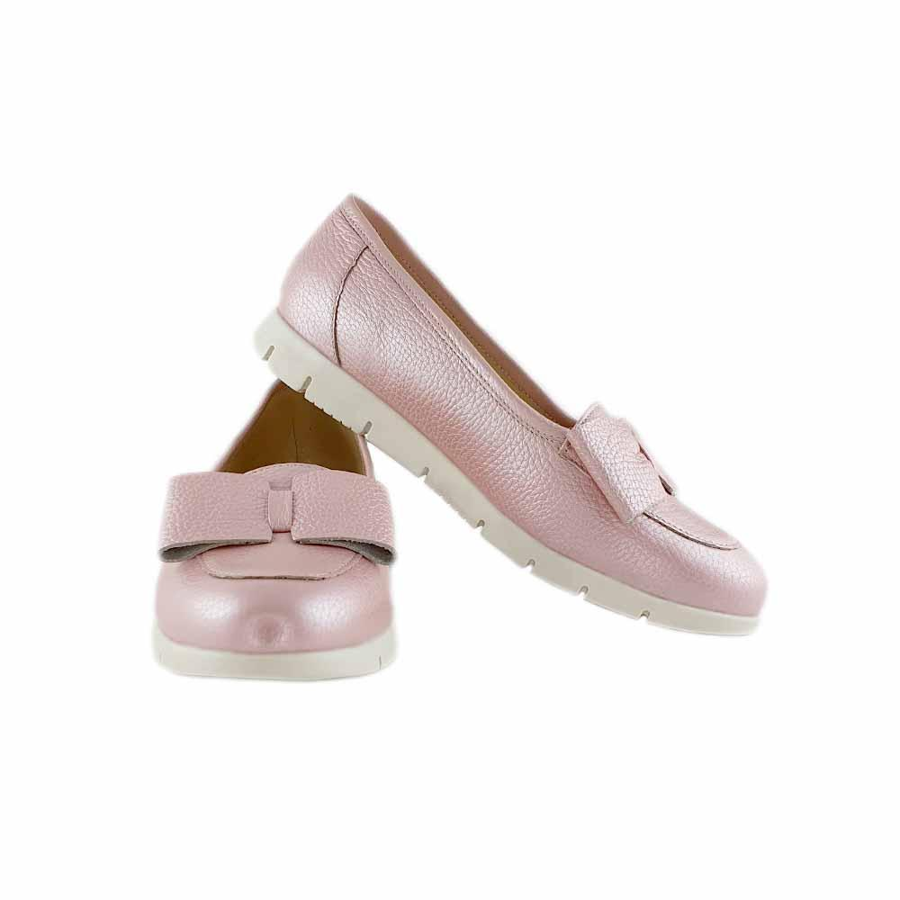 Mocasini din piele naturala crem-roz Natalie