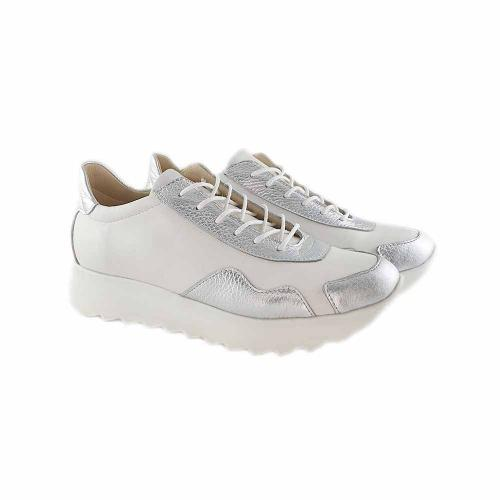 Pantofi sport din piele naturala alb-argintiu Ariana