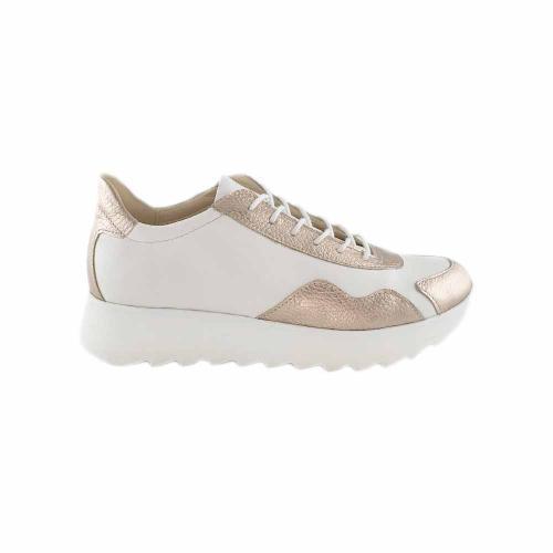 Pantofi sport din piele naturala alb-auriu Ariana